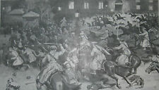 1905 Large Antique Print- WARSAW- Hussars Attacking Protesters in Theatre Square
