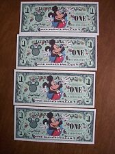 2000  Disney One Dollar ($1)  Bill - 4 Bills - Consecutive - Mickey Mouse Epcot
