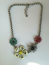New Lucky Brand Silver Colorful Beautiful Flowers Necklace