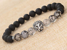 "MEN'S BLACK MATTE AGATE SILVER LION HEAD BEADS BRACELET 7.5""/8MM BEADS"