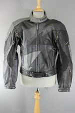 AMAZING BLACK & GREY TEKNIC LEATHER BIKER JACKET + REMOVABLE KNOX CE ARMOUR 42IN
