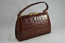 VINTAGE BROWN CROCODILE SKIN HANDBAG 1950s leather bag kid leather lined