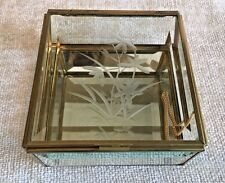 Vintage Trinket Box Mirrored Brass and Glass Square Flower Etched