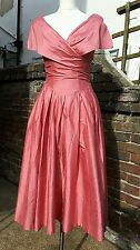 Vintage 80s Laura Ashley Silk Ball Gown Dress - Size 8 EXCELLENT CONDITION