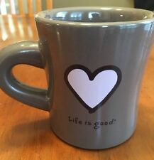 LIFE IS GOOD HEART MUG~HEAVY DINER STYLE~ BROWN WITH PINK HEART~DO WHAT YOU L