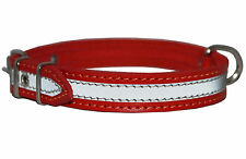 "Red Leather Reflective Dog Collar 18"" Long 7/8"" wide Fits 13""-16"" neck size"
