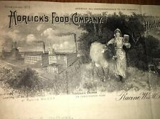 Horlicks Malted Milk Incredible Letterhead 1904 Girl Cow Factory Racine Wisc