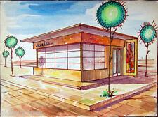 Acquerello '900 su carta Watercolor Architettura futurista cubista razionale- 9