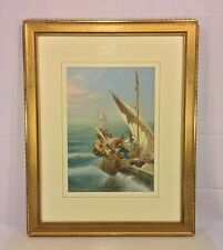 Antique Seth Corbett Jones Venetian Fishing Vessels Watercolor Matted & Framed
