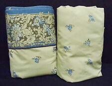 Vintage JC Pennys Twin Set Fitted Flat Sheets Tan w/Brown & Blue Flowers Fabric