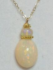 3ct 12mm x 9mm Genuine Ethiopian Fire Opal and solid 14k Gold Necklace pendant