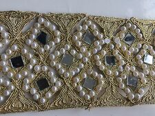 ATTRACTIVE INDIAN GOLD DIAMONDS WITH PEARLS & MIRRORS LACE TRIM-SOLD by METER
