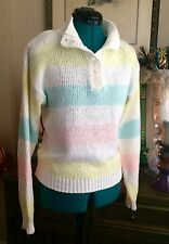 VTG 80s 90s Pastel Color Block Sweater Sz M Jamie Scott Fairy Kei Collar Retro