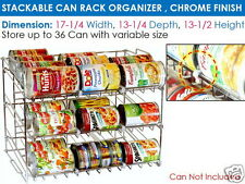 Stackable Can Rack Cabinet Organizer Food Storage Holder Shelf 3 Tier Kitchen