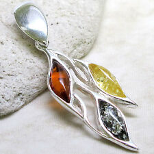 COOL GENUINE GREEN BALTIC AMBER 925 STERLING SILVER PENDANT