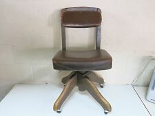 """ORIGINAL 1940'S ERA """"DO MORE"""" INDUSTRIAL LEATHER AND ALL WOOD OFFICE CHAIR"""