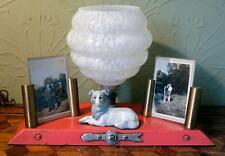 VINTAGE French Folk Art Deco Pink Lamp Light Kitsch Dog Photoframe Handmade 1930