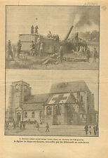 WWI Argonne Artillery US Army/Eglise Bray-sur-Somme Red Cross 1919 ILLUSTRATION
