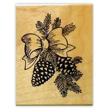 PINE CONES & BOW, mounted Christmas rubber stamp #7