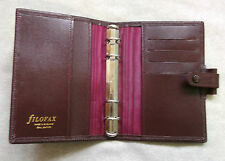 NEW FILOFAX REAL LEATHER SLIM POCKET FILE BURGUNDY ORGANISER 15MM RING DIAMETER