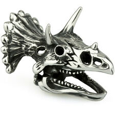 Sterling Silver Ohm Rawr Triceratops Skull Bead AAA042
