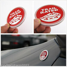 Circular Red Pure Metal Car Trail Rated 4x4 Logo Emblem Decal Sticker For Jeep