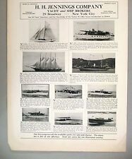 H.H. Jennings PRINT AD - 1928 ~~ Yachts For Sale
