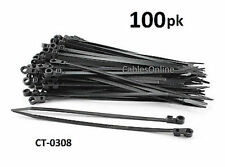 """100-PACK 8"""" Nylon Zip Mountable Head Cable Ties/ Cord Organizer, CT-0308"""