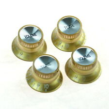 4x Top Hat Bell Style Guitar Knobs (2x tone and 2x volume) Gold D40