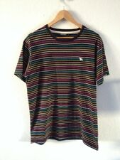 Mambo Cotton T Shirt Top Size L Black With Rainbow Stripe  R10166
