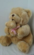 Stuffed Teddy Bear w/cub Light Brown / Butterscotch Plush Ribbon I Love You Mom