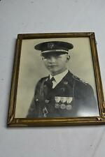 WWII Military Photo Antique Vintage Art Deco PICTURE FRAME Wedding Display Wood