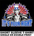 UNCLE SAM SECOND 2ND AMENDMENT IT'S YOUR RIGHT TO OWN GUN RIFLE ARMS T-SHIRT X48