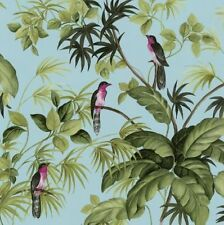 Birds Trees Wallpaper Exotic Tropical Blue Green International Tropical Leaves