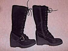 Brechelle's Winter Black Suede Lace-up Platform Wedge Knee High Boots Womens 6.5
