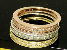 R199- Set of 9ct Tri-Color Gold NATURAL Diamond WEDDING Ring Stackable size M