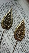 GORGEOUS PAIR ANTIQUE FRENCH HATPINS c1890 FILIGREE FERN LEAVES - ATTIC FIND