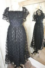 Berketex black lace party dress - Ditsy Vintage 6 8 1970s gothic steampunk