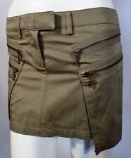 Plein Sud Womens Khaki Green Cotton Mini Skirt with Zipped Pockets Size 8 sn