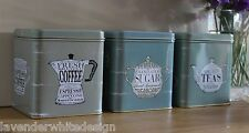 Martin Wiscombe Vintage Style Set of 3 tins - Tea Coffee and Sugar Caddies -