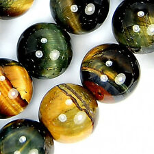 8mm Yellow Blue Tiger Eye Round Beads 16""