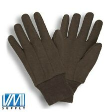 25 Dozen 300 Pair RAMIE COTTON BROWN JERSEY Work Gloves Large L Men Size 8 Oz