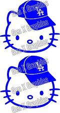 Hello Kitty LA Dodgers Cap Decal/Sticker  SET of 2  Large