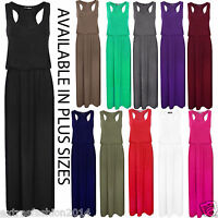Women Ladies Puff Ball Sleeveless Jersey Toga Long Racer Back Baloon Maxi Dress