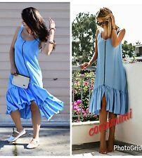 ZARA neuf bleu ciel midi popeline zippé robe avec à volants ourlet taille m