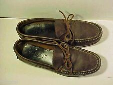 Men's COLE HAHN Oiled Leather BROWN MOCCASINS 10 1/2 D Excellent