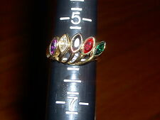 VINTAGE - 14K H G E-RING WITH 5 STONES- 1 GREEN 1 RED 1 BLACK 1 CLEAR 1 PURPLE
