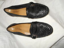Cole Haan Woven Black Leather Monk Strap Slip On Shoes Size 9 1/2 M Made N
