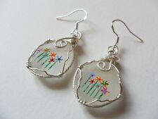 Rainbow flowers hand painted sea glass earrings - sterling silver 925 earwires