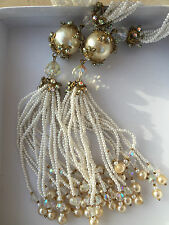 Rare Handmade 6 foot Long Pearl Flapper Necklace or Belt  / Never worn